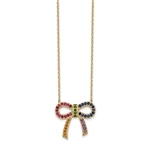 "Diamond Essence Multi Color BowKnot Necklace, 2.0 Cts.t.w. set in Gold Plated Sterling Silver. 16"" Length (With 2"" extension)."