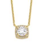 Diamond Essence Pendant with 2.5 ct. cushion Cut Stone in center surrounded by round stones in 14K gold vermeil.