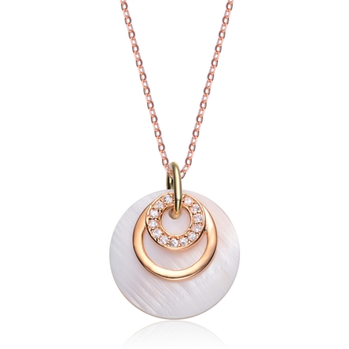Diamond Essence Mother Of Pearl Pendant With Round Brilliant Melee In 14K Gold Vermeil.