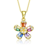 Diamond Essence Delicate Designer Floral Pendant with Multi Color Baguettes and Brilliant Melee, 1.10 Cts.t.w. set in Gold Plated Sterling Silver. 18mm Length, 11mm Width.