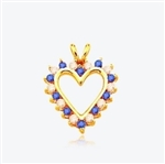 Sapphire Essence Heart Pendant - 0.5 Cts. T.W. set in 14K Gold Vermeil.