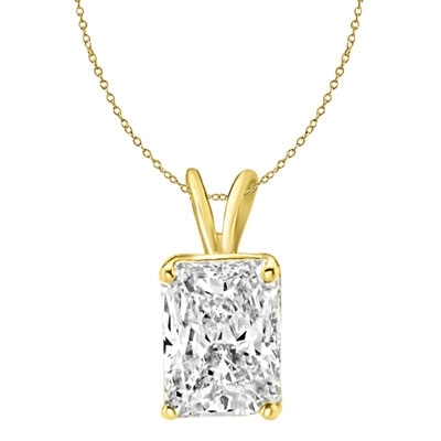 Gold Vermeil white Diamond emerald cut pendant