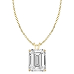 Diamond Essence Emerald cut stone, 1.0 carat,  set in 14K Gold Vermeil. Chain not included.