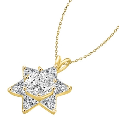 trilliant cut stones in gold vermeil star pendant