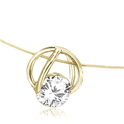 14K Gold Vermeil Slide Pendant with classic Round Brilliant Diamond Essence. 1.25 Cts.T.W. 