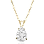 1 ct pear cut Diamond stone in Gold Vermeil pendant
