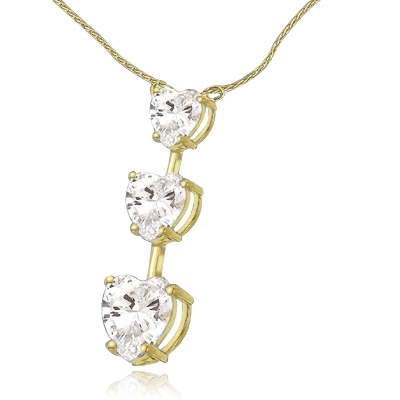 Diamond Essence Necklace with Three Graduating Heart Shape Stones, 3.50 cts.t.w. - VPD2684H