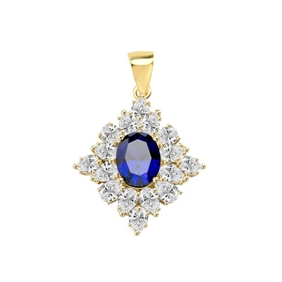 Designer Pendant with 3.5 Ct. oval Sapphire Essence set in four prongs, and surrounded by pear cut diamond essence stones in floral pattern. 8.5 Cts. T.W. set in 14K Gold Vermeil.
