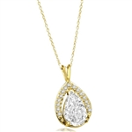 Amazingly designed Pendant with 3.50 Cts. Pear Cut Center and Melee, 4.0 Cts. T.W. in 14K Gold Vermeil.