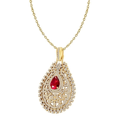 Diamond Essence Designer Pendant with 2.0 cts. Pear Shape Ruby in center surrounded by Artistically set Brilliant Melee, 4.50 cts.t.w. - VPD3004R