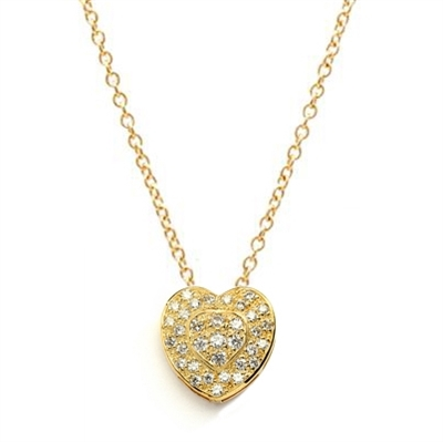 Beautiful Heart Pendant with the outer ring of heart encircling the micro pave set bulge heart. Truly lovable..2 Cts. T.W. in 14K Gold Vermeil.