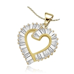 3 ct open-heart pendant in 14K Gold Vermeil