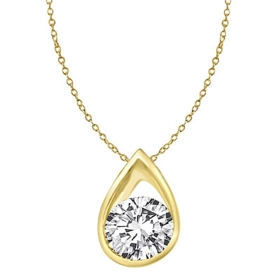 Gold Vermeil pendant with rain drop shape