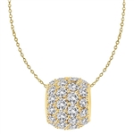 Diamond Essence Slide Pendant with round stones all around 3.0 ct. tw. in Gold Vermeil.