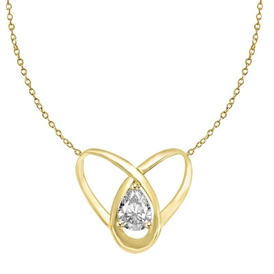 2ct pear cut stone set in orbit in gold vermeil pendant