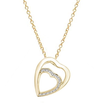 14K Gold Vermeil pendant with two hearts as one. The larger heart gleams protectingly. The smaller heart nestled lovingly inside flutters with a beautifully bedecked melee of Diamond Essence masterpieces.