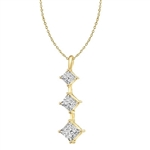 Gold vermeil graduating princess cut stones pendant