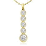 gold vermeil pendant with 1.75 ct round stone