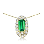 Emerald City Pendant with a 3.0 Cts. Emerald Cut Emerald Essence center surrounded by fiery Round Cut Diamond Essence Stones, 3.30 Cts. T.W. in 14K Gold Vermeil.