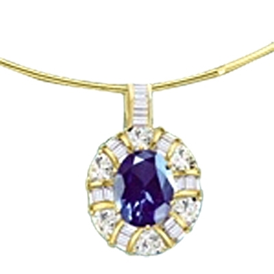 14K Gold Vermeil pendant with a 5.0 ct. Oval cut Sapphire Essence masterpiece inside a ring of the en-kindled by channel set Diamond Essence tapped baguettes and trillion cut masterpieces. All hang beguilingly from a bail flashing with channel set baguett