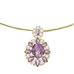 14K Gold Vermeil pendant with Amethyst stones