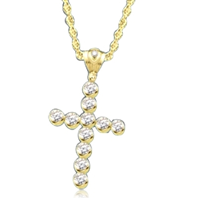 "Show your spirit with a heavy, solid cross pendant made with Round Diamond Essence stones 1.5 Cts. each Delightfully Dazzling 2-1/4""H and 1-3/4""W. In Gold Vermeil. Chain Not Included."