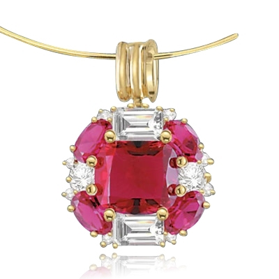 pink ruby gold vermeil pendant