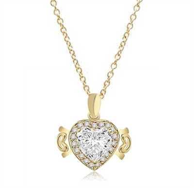 Beautiful Heart Pendant, showing off 4 carat Heart cut Diamond Essence stone set in prong setting, surrounded by round brilliant stones and 2 small hearts on either side. 5.0 cts.t.w. in Gold Vermeil.
