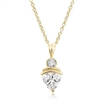 2.5ct Diamond stone pendant in gold vermeil