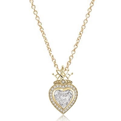 Majestic looking Heart cut Diamond Essence stone, 7 carat, surrounded by brilliant melee, with crown top set in Gold Plated Sterling Silver.