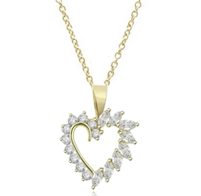 0.10 ct heart shaped marquise stone pendant in vermeil