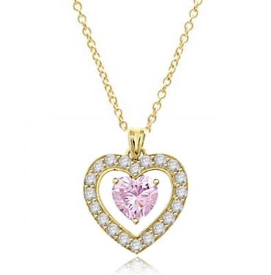 Three carat heart shape Pink Essence stone in prong setting, is surrounded by round brilliant Diamond Essence stones, making another heart. 4.0 cts.t.w. in Gold Vermeil.