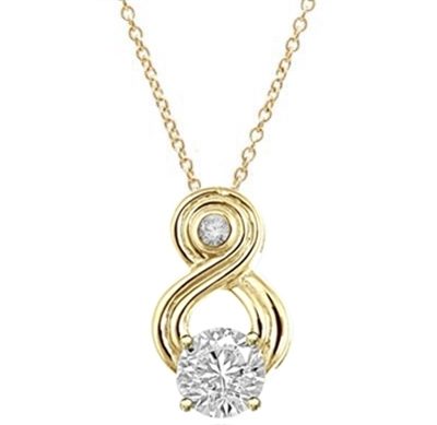 Intriguing and exotic pendant wit 2 carat Diamond Essence round brilliant masterpiece in Gold  Vermeil.