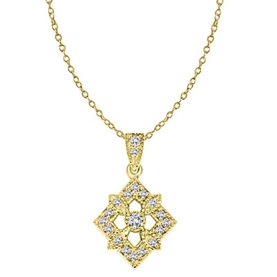 Diamond Essence Designer Pendant with Round Stones. 1.25 Cts. T.W. set in 14K Gold Vermeil.