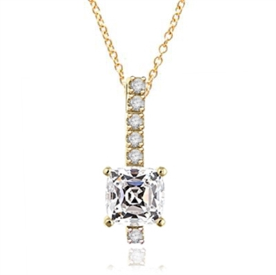 Elegant Pendant with 3 carat Cushion cut Diamond Essence stone in four prong setting, with Round Brilliant stones in four prongs, set on a bar. 4.0 cts.t.w. in Gold Plated Sterling Silver.