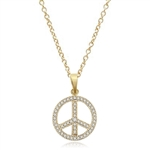PEACE Sign Pendant. Gold Vermeil Pendant, channel set Round Brilliant Diamond Essence stones sparkling bright and spreading peace everywhere. 1.00 ct.t.w.