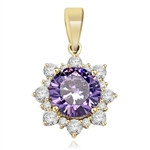 Designer Pendant with Round Amethyst Essence in center surrounded by Round Brilliant Diamond Essence and Melee. 4.5 Cts. T.W. set in 14K Gold Vermeil.