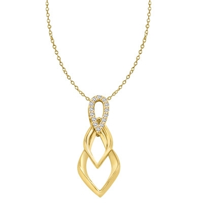 Tear Drop Pendant with Diamond Essence Triple Twist. 0.75 Cts. T.W. In 14k Gold Vermeil.