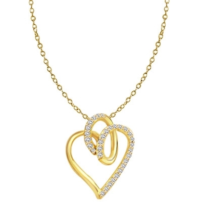 Superb Heart Shaped Pendant with Brilliant Diamond Essence Stones on Fluttery Curves. 1.5 Cts. T.W. In 14k Gold Vermeil.