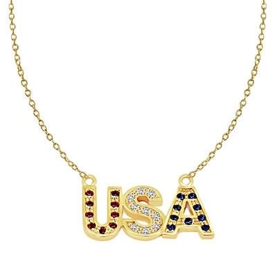 Let the patriotism show this season. Diamond Essence Pendant with Round Ruby, Sapphire and Brilliant Stones, In 14K Gold Vermeil with Chain.