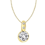 Diamond Essence 2.0 carat round brilliant stone set in bezel setting of 14K Gold Vermeil. Chain not included.