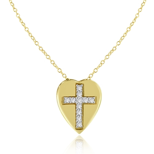 Diamond Essence Cross Pendant with round stones in 14K Gold Vermeil.