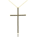 Diamond Essence Cross Pendant with Round Black Onyx Stones in Gold Plated Over Sterling Silver.