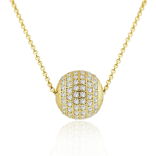 "Diamond Essence Round Stone Pendant with 18"" Chain in Gold Plated Sterling Silver."