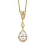 Amazingly designed Pendant with 1.50 Cts. Pear Cut Center and Melee,  in 14K Gold Vermeil.