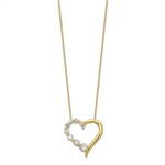 Prong Set Heart Pendant with Graduating Round Brilliant Diamonds by Diamond Essence set in Vermeil