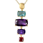 Diamond Essence Gold Plated Sterling Silver Pendant with Multi Color Rectangular Cushion Stones, 1.5 cts. Aquamarine, 5 cts. Dark Amethyst, 1.5 cts. Dark Purple and 0.75 ct. Garnet Essence. 8.75 Cts.T.W.