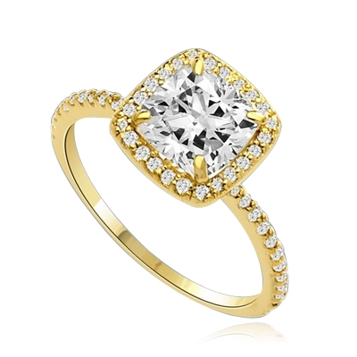 Beautiful Cushion Centerpiece, 1.5 cts, is surrounded by Round Brilliant Melee in this elegant engagement ring. The band consists of round pointer melee to form a brilliant radiance. Appx. 2.5 Ct. T.W. In 14k Gold Vermeil.
