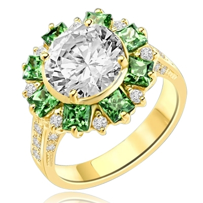 Classic Designer Ring with 3.0 Cts. Round Brilliant Diamond Essence Stone in the center, surrounded by 0.5 Ct. each, Green Princess cut stones and round stones. Round melee set on band, makes it more artistic. 9.50 Cts.T.W. set in 14K Gold Vermeil.