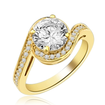 Diamond Essence Round Brilliant stone 2.0 ct set in four prongs and surrounded by round melee artistically set in curved band of Gold Vermeil.